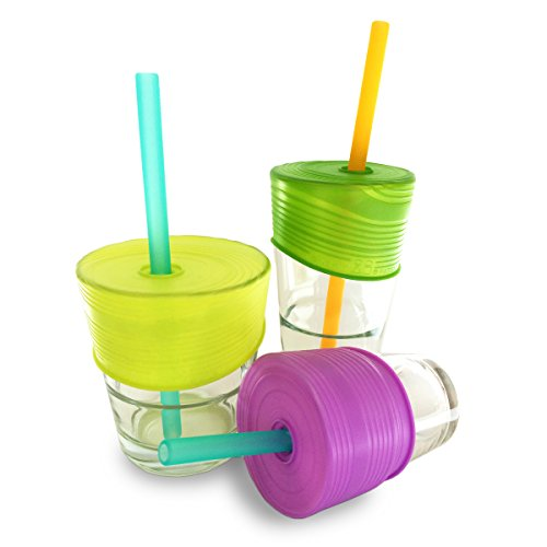 Silikids Universal Silicone Straw Lids, BPA-Free Cup Covers for Kids (Lime/Green/Purple)