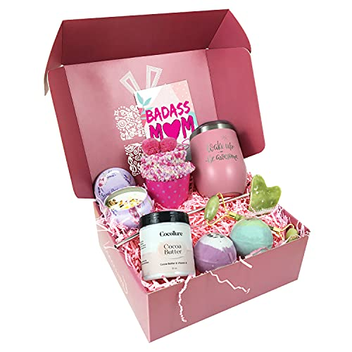 New Mom Gifts Ideas - Best Relaxing Spa Gift Bath Box Set for Women - Pregnancy New Mom Care Package - Unique Present Idea for First Time Mom Expecting Mother - Baby Shower Basket