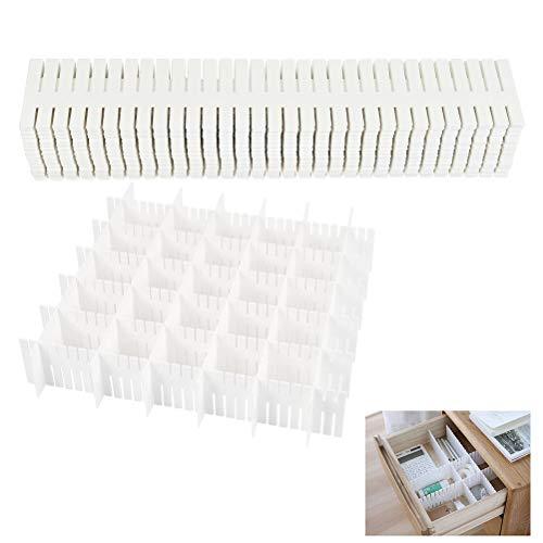 FOCCTS 32 Piezas Organizador de Cajones Ajustable Divisor de Cajón DIY Separadores de Cajones para Ropa Interior, Sujetador, Calcetines y Accesorios (Blanco)