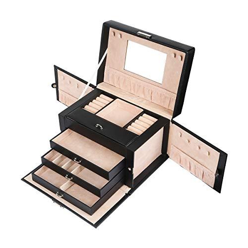 Meerveil Schmuckkasten, abschließbareSchmuckschatulle mit 4 Ebenen, Schmuckkästchen mit Spiegel, Schmuckkoffer für Damen und Mädchen, Geschenk für Frauen, Schwarz