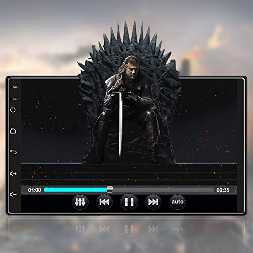 Nuevo 7 Pulgadas [1G+16G] Android 10,1 Radio Coche 2 DIN con HiFi+WiFi+Bluetooth+RDS+FM+Navegación GPS, Sistema Multimedia de Internet para Coche con Pantalla Táctil HD de 1080P(12V)