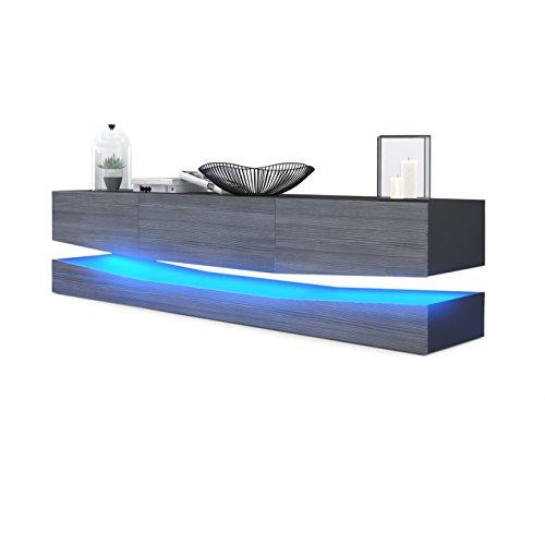 Vladon TV Board Lowboard City, Korpus in Schwarz matt/Fronten in Avola-Anthrazit inkl. LED Beleuchtung