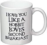 KINGAM - Tazza da caffè con scritta 'I Love You Like A Hobbit Loves Second Breakfast'