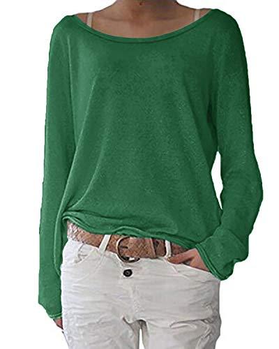 ZANZEA Mujer Camisetas Holgada Cardigan Manga Larga Suelta Blusa Jersey Pullover Casual Tops Verde Hierba S