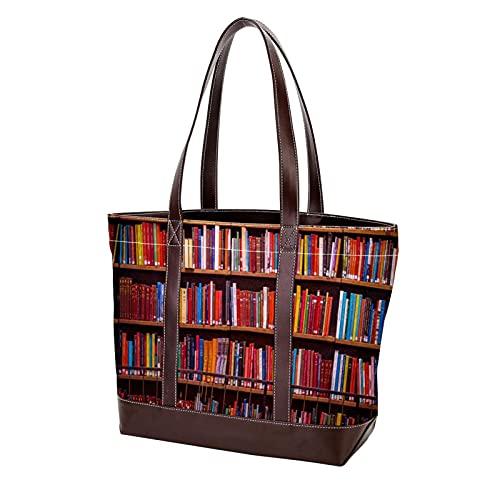 NaiiaN Bolsos de hombro Monedero Bolsos de compras Estante de libros de madera negra Bolso de mano para madres Mujeres Niñas Señoras Estudiante Correa liviana