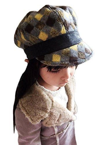Bigood Enfant Casquette Visière Unisexe Chapeau de Béret Motif de Outdoor de Soleil Jaune