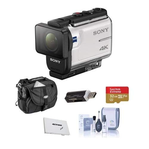 Sony FDR-X3000 4K Action Camera, with Balanced Optical SteadyShot, Wi-Fi and GPS - Bundle with 32GB MicroSDHC U3 Card, Camera Case, Cleaning KIt, Card Case, Card Reader