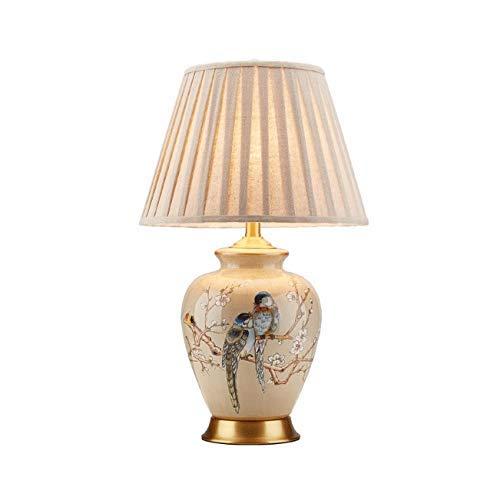 HHJJ Keramische Tischlampe, Keramik-Tischlampen Klassiker Netzschalter-Tasten-Gewebe E27 LED Kupferlampe Lampe-28894J2V3G