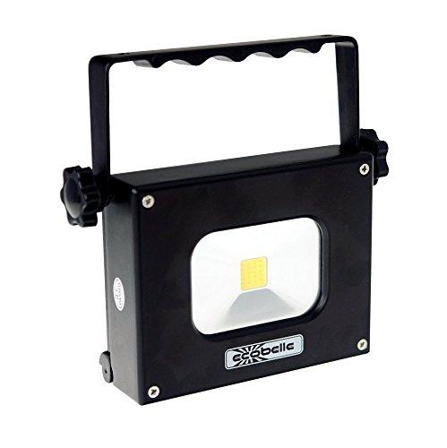 ECOBELLE® LED Mini Portátil Foco Proyector y Antorcha 10W + Panel Solar. Equipado con un potente Móvil Portátil Batería/ Power Bank de 4000 mAh, recargable con USB, blanco frío 4K, negro