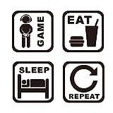 SITAKE Game Room Decor, 'EAT SLEEP GAME REPEAT' Decoración de habitación de niños para dormitorio, decoración de pared para niños y pegatinas de pared, 22.0 × 22.0 pulgadas