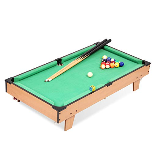 Save %46 Now! softneco Portable Tabletop Billiards for Family,Wooden Pool Table Accessories Kit for Kids,Mini Billiard Table with 2 Cues and Ball B