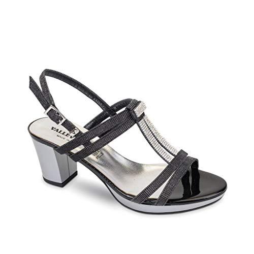 VALLEVERDE Sandalo da Donna Tacco Strass 38531 Nero. Modello Comfort Adatto a Tutte Le Occasioni. Scarpe in Pelle Primavera Estate 2019 EU 37