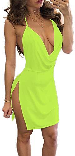 OUTLETISSIMO® Mini Abito Giallo Lime con Spacco Laterale Vestito Sexy Schiena Nuda Scollato MAXISHIRT Taglia Large Z008
