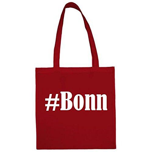 Tasche #Bonn Größe 38x42 Farbe Rot Druck Weiss