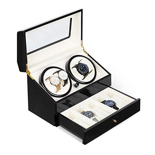 Klarstein Geneva - Uhrenbeweger, Uhrendreher, Uhrenbox, 4 Automatikuhren, 4 Modi, Links- oder Rechtslauf, Schubfach, schwarz