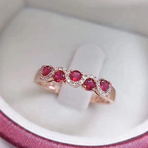 YANGYUE Anillos de Plata de Ley 925 a la Moda, Anillos de Diamantes de rubí con Incrustaciones Micro para Mujeres, Anillo de Compromiso de Plata de una Sola Fila S925, joyería Fina