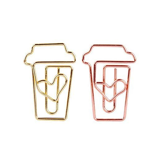 OWLFAVO Coffee Cup Shape 20pcs Paper Clips with Clear Box Rose Gold and Yellow Gold Funny Cute Paperclips Bookmarks Planner Clips for Fun Office Supplies School Gifts Wedding Decoration
