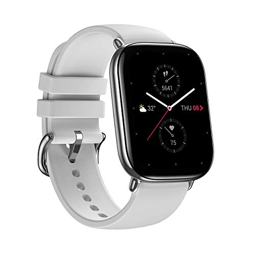 Zepp E Square Smart Watch Health and Fitness Tacker with Heart Rate, SpO2 and REM Sleep Monitoring, Stainless Steel Body, Fluoroelastomer Band, Pebble Gray