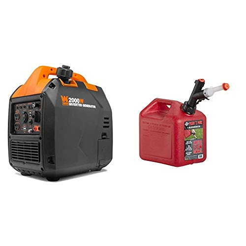 WEN 56203i Super Quiet 2000-Watt Portable Inverter Generator w/Fuel Shut Off, CARB Compliant, Ultra Lightweight & GARAGE BOSS GB320 Briggs and Stratton Press 'N Pour Gas Can, 2+ Gallon, Red