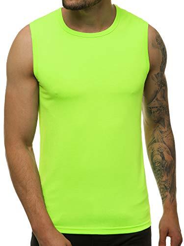 OZONEE Herren Tank Top Tanktop Tankshirt Ärmellos Bodybuilding Shirt Unterhemd T-Shirt Muskelshirt Achselshirt Ärmellose Training Gym Sport Fitness Freizeit Rundhals 777/3451BO/72 GRÜN-NEO M