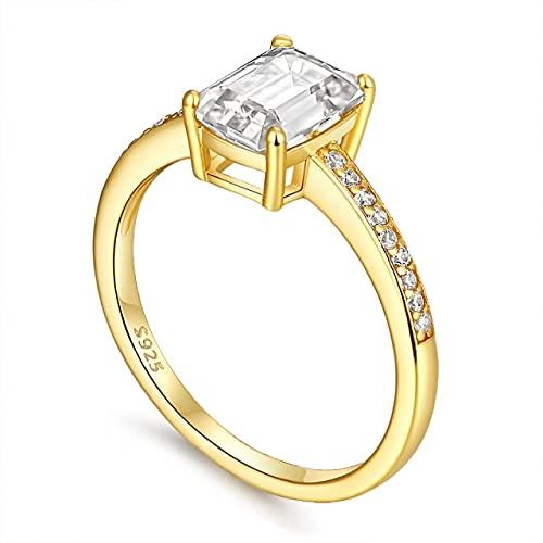 DJMJHG S925 Anillo de Plata esterlina Oro Blanco 6 × 8 Anillos de Compromiso de Moissanite para Mujeres Anillo de Diamante de Moissanite Joyería de Lujo 7.5 Oro