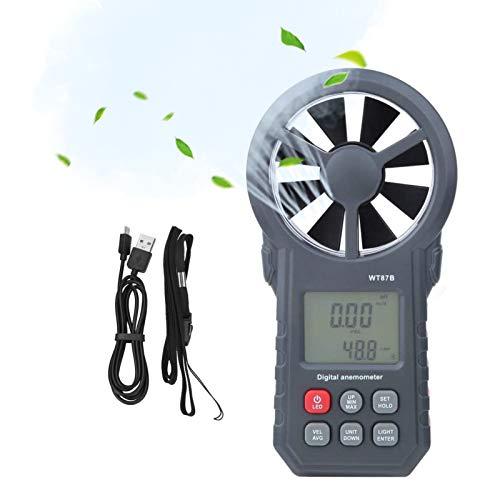 Plyisty WT87B Anemómetro de Mano Termómetro Medidor Digital de Velocidad del Viento con LCD, Usado con USB y Bluetoth, para entusiastas del Clima o Profesionales