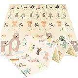 Spielmatte für Kinder Baby Teppich Faltbare Bodenmatte in Pastell Farben Weich Rutschfest und Leicht Waschbar Ungiftiges Material Doppelseitige Matte für Jungen und Mädchen (Bär und Pferd)