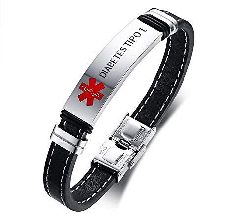 VNOX Pulsera Brazalete de Alerta de Identificación Médica SOS de Cuero Genuino de Acero Inoxidable,Grabado DIABETES TIPO 1