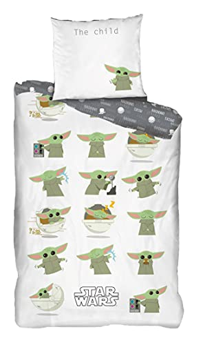 Ropa de cama reversible BabyYoda The Child Mandalorian 135 x 200 cm + 80 x 80 cm, 100% algodón, ropa de cama infantil