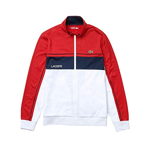 Lacoste Herren SH9543 Sweatjacke, Männer Sweatshirt Reißverschluss,Regular Fit,Rot,8