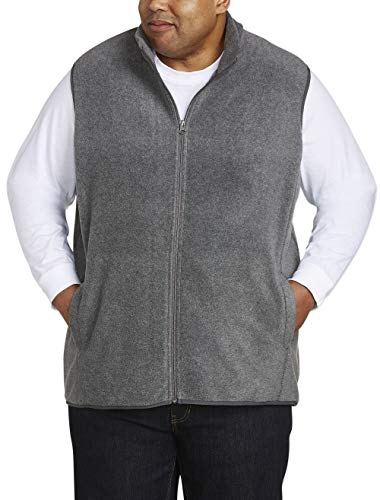 Amazon Essentials Men's Big and Tall Full-Zip Polar Fleece Vest fit by DXL, Charcoal Heather, 5XLT