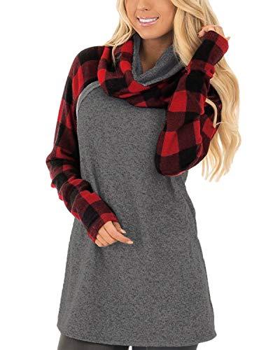 Auxo Damen Pullover Hoodies Langarm Sweatshirt Rollkragen Oberteil Pulli Tunika Tops Rot Small