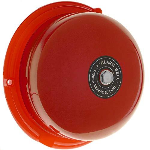BeMatik - Timbre eléctrico de Campana y Base roja 100mm para Alarma...