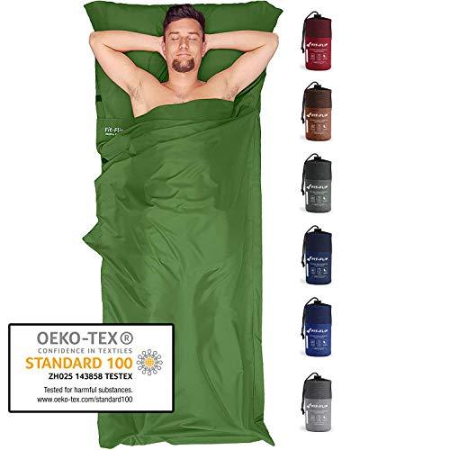 Fit-Flip Sábana Saco de Dormir Ultraligero, Forro de Saco de Dormir de Microfibra con Compartimiento de Almohada añadido, Saco sábana Tambien como Forro de Saco de Dormir - Color: Verde Oscuro