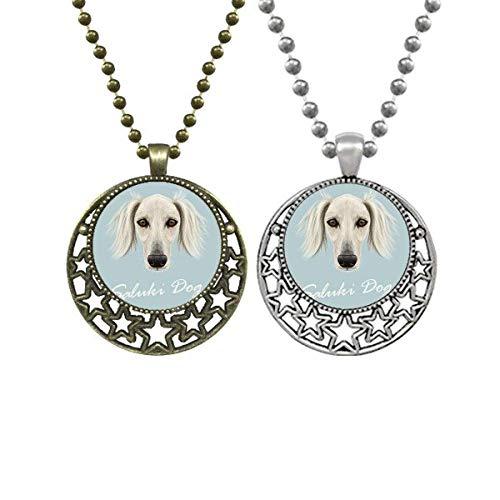 Collar con colgante de cara larga para perros Saluki, diseño retro con estrellas y luna