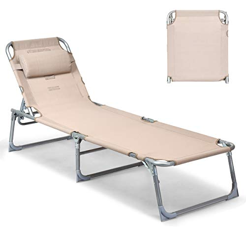 Goplus Adjustable Chaise Lounge Chair Recliner w/Sunbathing Tanning Face Down Hole for Beach Outdoor Pool Patio Deck (Apricot)