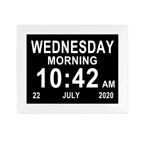 8 inch Dementia Clocks 8 Alarm Options Digital Day Calendar Clock Extra Large Display Non-Abbreviated Day & Month for Senior Elderly Impaired Vision Memory Loss Clocks