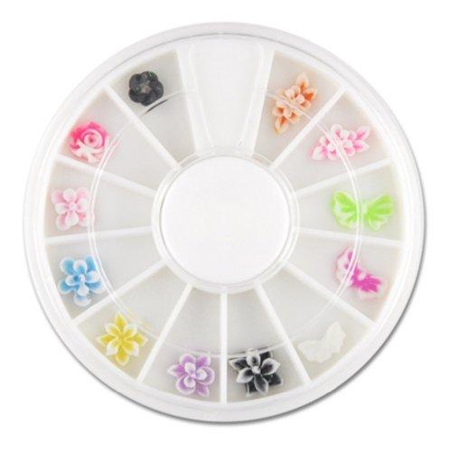 12 verschiedene 3D-Nailart FIMO Figuren im Rondell - Blüten und Schmetterlinge