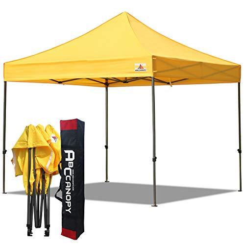 ABCCANOPY Carpa plegable de 3 x 3, refugio instantáneo comercial con bolsa de transporte, 4 estacas y cuerdas (3 x 3, dorado)