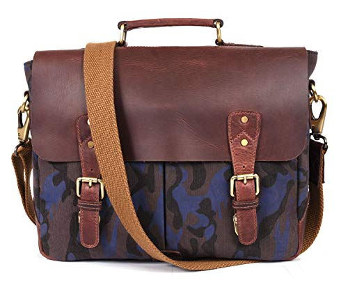 Aaron Reserve Laptop Messenger bag for Mens Leather Briefcase Business Satche Bag Camo Canvas (Fossil)