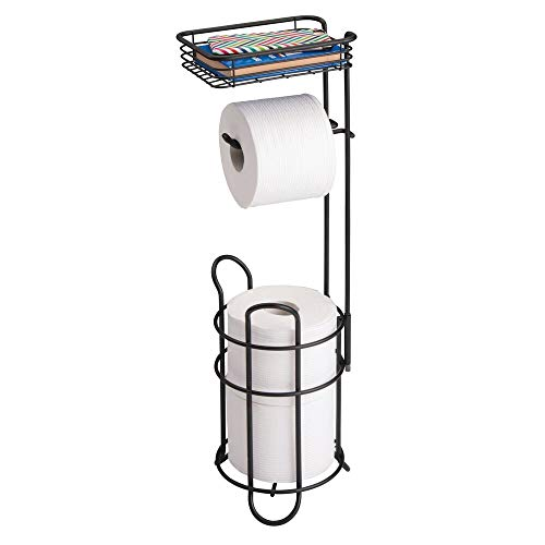 mDesign Freestanding Metal Wire Toilet Paper Roll Holder Stand and Dispenser with Storage Shelf for Cell, Mobile Phone - Bathroom Storage Organization - Holds 3 Mega Rolls - Matte Black