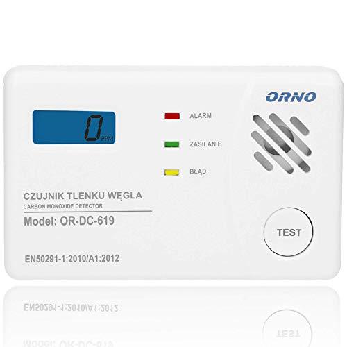 ORNO OR-DC-619 Kohlenmonoxid Melder 85dB Alarm mit Selbsttestfunktion TÜV Geprüft Batteriebetriebener