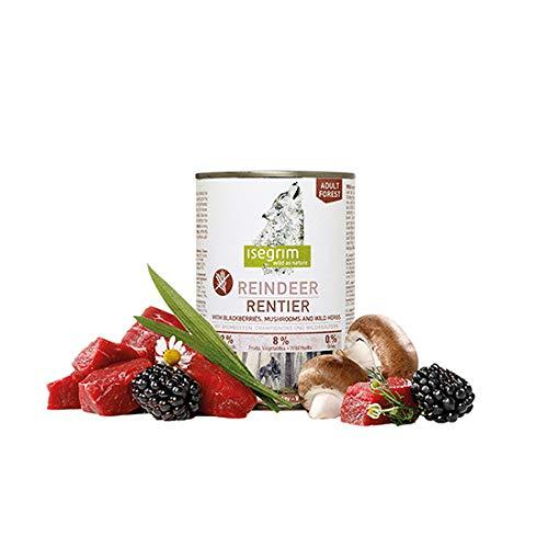 Isegrim Pack 6 Dosen Futter für Hunde Rentier + Bisse + Pilze + Wildkräuter 400 g (6 x 400 g)