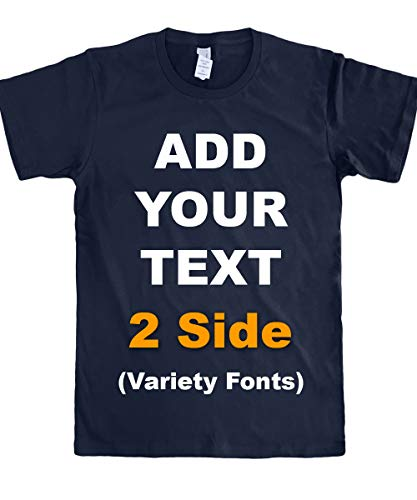Custom T Shirts Front & Back Add Your Text Message Ultra Soft Unisex Cotton T Shirt [Navy/XL]