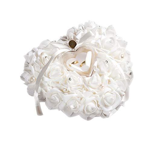 Alextry Nuovo Accessorio Elegante Rose Wedding Favors Design Regalo Anello Cuscino a Forma di Cuore Box Case White