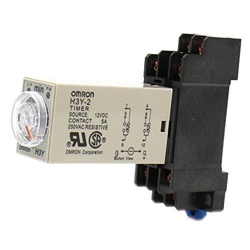Heschen Relé de retardo de temporizador H3Y-2 12VDC 0-10 minutos 250VAC 5A 8Pin terminal DPDT con DYF08 35mm DIN Rail Socket Base