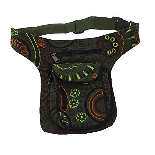 KUNST UND MAGIE Kinder Goa Schulter Bauchtasche Gürteltasche Bauchgurt Hippie Psy, Farbe:Army Green