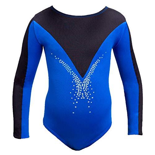 Siegertreppchen® Strój gimnastyczny dla dziewczynek z długim rękawem (rozmiar 116 – 164), strój gimnastyczny dla dzieci, strój baletowy, body gimnastyczne, do gimnastyki, fitnessu i tańca