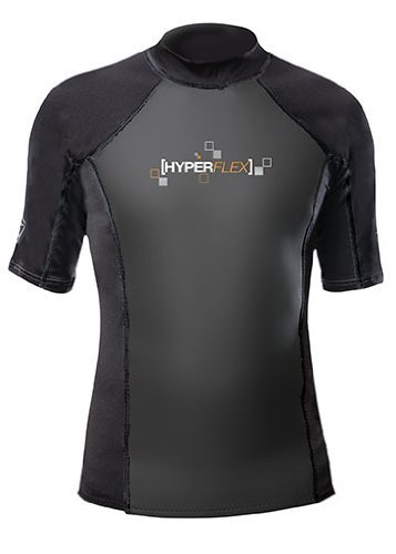Hyperflex Wetsuits Men's Polyolefin 1.5mm 50/50 S/S Shirt, Black, Small - Surfing, Windsurfing & Wakeboarding by