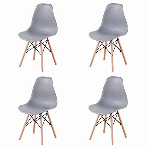 EGOONM Een Set van 4 eetkamerstoelen, bureaustoelen, keukenstoelen, plastic stoelen, Scandinavische stijl ,Grijs